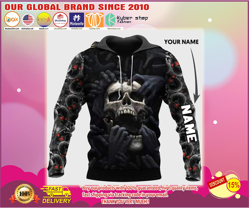 [LUXURY] Red eyes screaming skull personalized custom name 3d hoodie