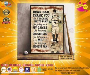 Baseball dear dad thank you for teach me to play custom name and number poster3