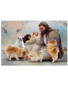 1 God surrounded by Pomeranian angels Gift for u Horizontal Poster 1