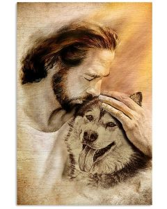 15 Jesus with lovely Alaskan Malamute for dog lover Vertical Poster 1