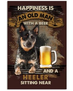 16 Heeler Sitting near old man Gift for you Vertical Poster 1