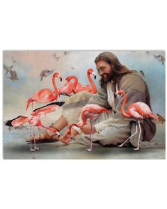24 God surrounded by Flamingo angels Gift for you Horizontal Poster 1