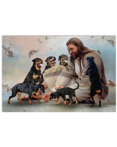 3 God surrounded by Rottweiler angels Gift for you Horizontal Poster 1