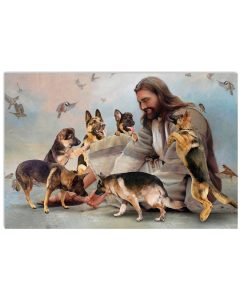 6 God surrounded by German Shepherd angels Poster 1