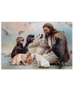 8 God surrounded by Labrador angels Gift for you Horizontal Poster 1