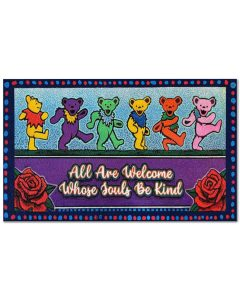 Pooh Grateful dead bears All are welcome who souls be kind doormat