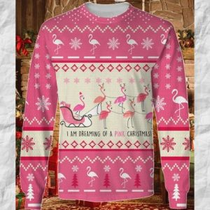 Flamingo Im Dreaming Of A Pink Christmas Ugly Sweater 1