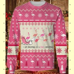 Flamingo Im Dreaming Of A Pink Christmas knitted sweater 2