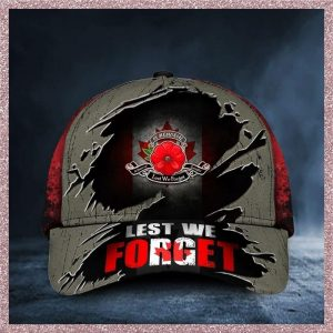 Poppy Canada Remembrance Day Lest we forget cap hat 2